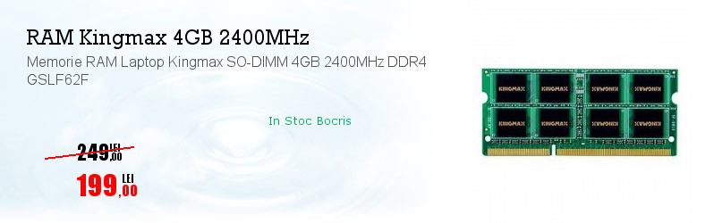 Memorie RAM Laptop Kingmax SO-DIMM 4GB 2400MHz DDR4 GSLF62F