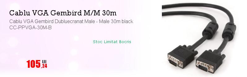 Cablu VGA Gembird Dubluecranat Male - Male 30m black CC-PPVGA-30M-B