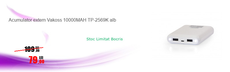 Acumulator extern Vakoss 10000MAH TP-2569K alb