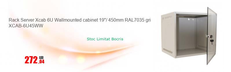 """Rack Server Xcab 6U Wallmounted cabinet 19""""/ 450mm RAL7035 gri XCAB-6U45WW"""