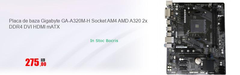 Placa de baza Gigabyte GA-A320M-H Socket AM4 AMD A320 2x DDR4 DVI HDMI mATX
