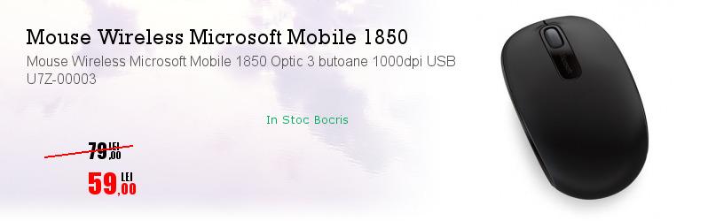 Mouse Wireless Microsoft Mobile 1850 Optic 3 butoane 1000dpi USB U7Z-00003