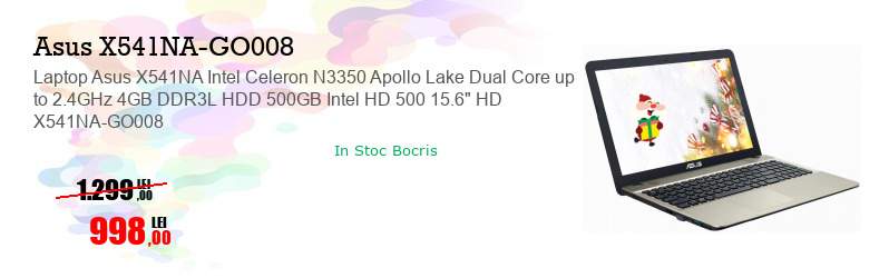 """Laptop Asus X541NA Intel Celeron N3350 Apollo Lake Dual Core up to 2.4GHz 4GB DDR3L HDD 500GB Intel HD 500 15.6"""" HD X541NA-GO008"""