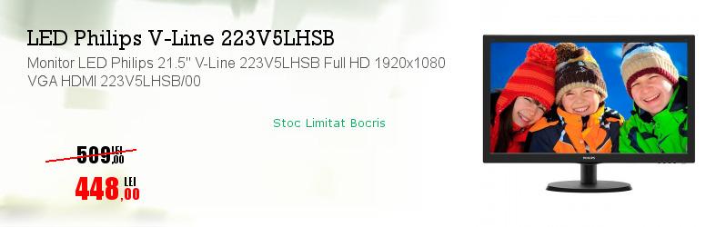 "Monitor LED Philips 21.5"" V-Line 223V5LHSB Full HD 1920x1080 VGA HDMI 223V5LHSB/00"