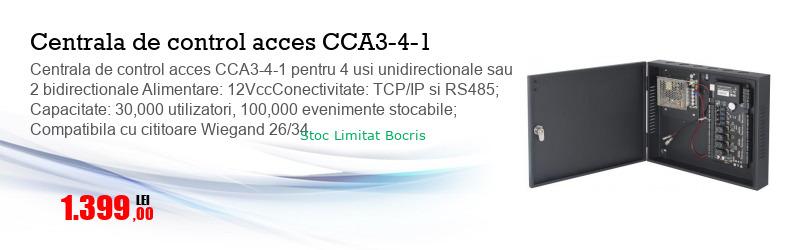 Centrala de control acces CCA3-4-1 pentru 4 usi unidirectionale sau 2 bidirectionale Alimentare: 12VccConectivitate: TCP/IP si RS485; Capacitate: 30,000 utilizatori, 100,000 evenimente stocabile; Compatibila cu cititoare Wiegand 26/34