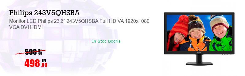 """Monitor LED Philips 23.6"""" 243V5QHSBA Full HD VA 1920x1080 VGA DVI HDMI"""