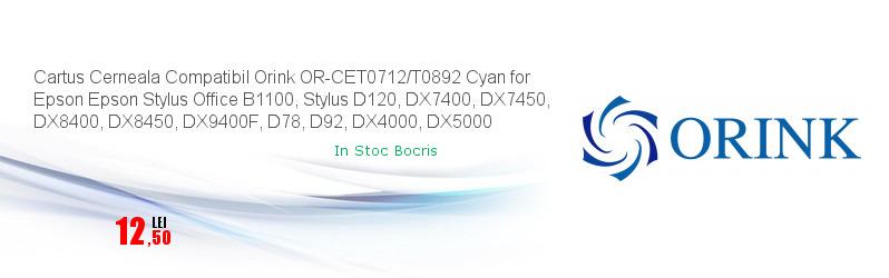 Cartus Cerneala Compatibil Orink OR-CET0712/T0892 Cyan for Epson Epson Stylus Office B1100, Stylus D120, DX7400, DX7450, DX8400, DX8450, DX9400F, D78, D92, DX4000, DX5000