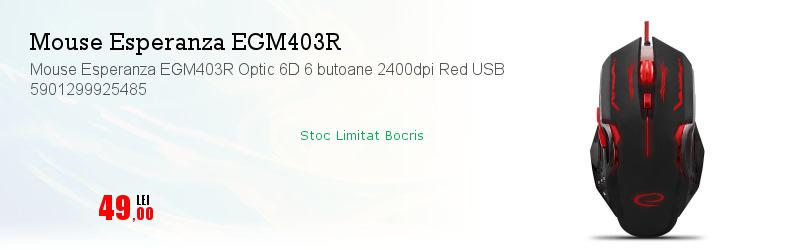 Mouse Esperanza EGM403R Optic 6D 6 butoane 2400dpi Red USB 5901299925485