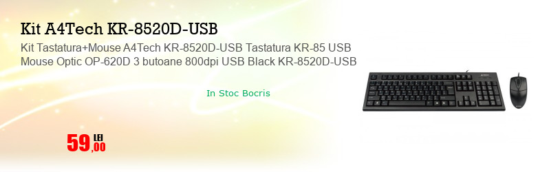 Kit Tastatura+Mouse A4Tech KR-8520D-USB Tastatura KR-85 USB Mouse Optic OP-620D 3 butoane 800dpi USB Black KR-8520D-USB