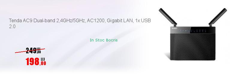 Tenda AC9 Dual-band 2,4GHz/5GHz, AC1200, Gigabit LAN, 1x USB 2.0