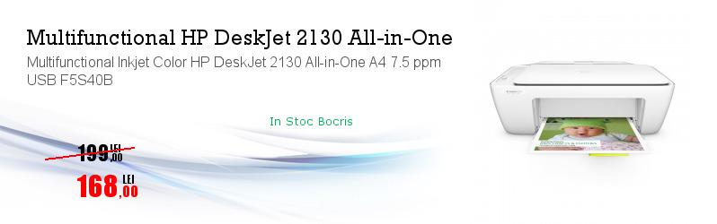Multifunctional Inkjet Color HP DeskJet 2130 All-in-One A4 7.5 ppm USB F5S40B