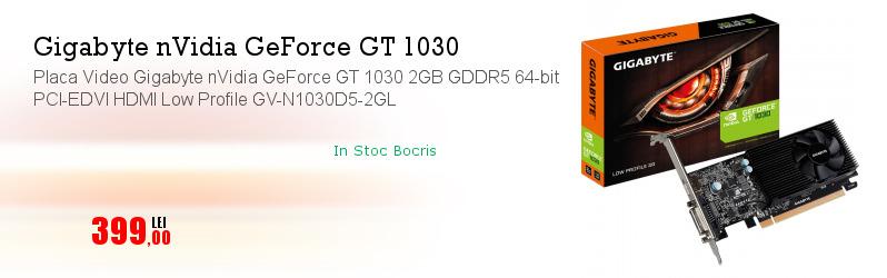 Placa Video Gigabyte nVidia GeForce GT 1030 2GB GDDR5 64-bit PCI-EDVI HDMI Low Profile GV-N1030D5-2GL