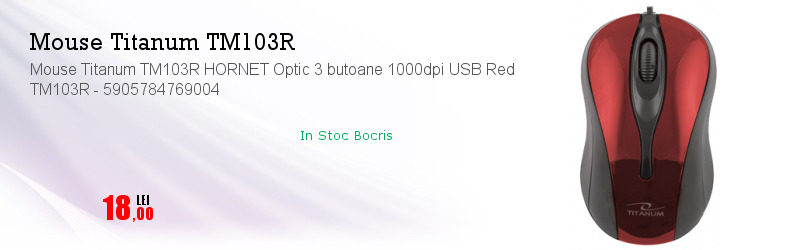 Mouse Titanum TM103R HORNET Optic 3 butoane 1000dpi USB Red TM103R - 5905784769004