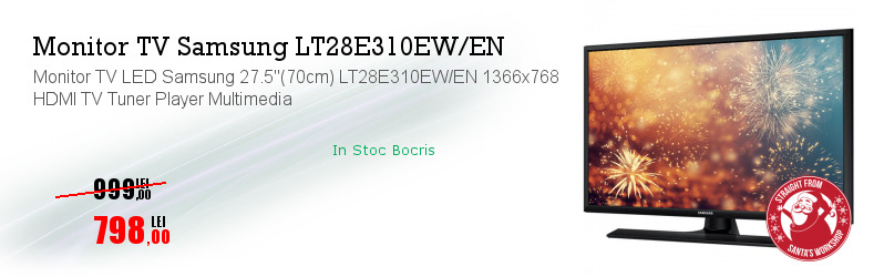 "Monitor TV LED Samsung 27.5""(70cm) LT28E310EW/EN 1366x768 HDMI TV Tuner Player Multimedia"