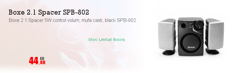 Boxe 2.1 Spacer 5W control volum, mufa casti, black SPB-802