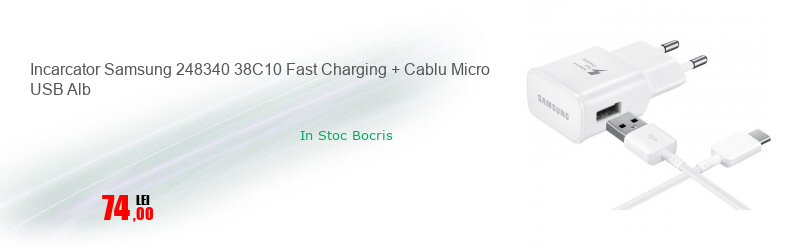 Incarcator Samsung 248340 38C10 Fast Charging + Cablu Micro USB Alb