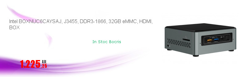Intel BOXNUC6CAYSAJ, J3455, DDR3-1866, 32GB eMMC, HDMI, BOX