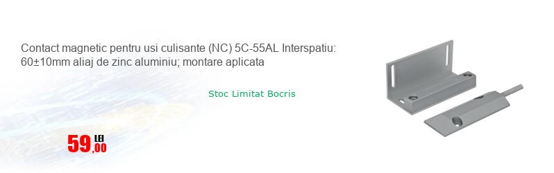 Contact magnetic pentru usi culisante (NC) 5C-55AL Interspatiu: 60±10mm aliaj de zinc aluminiu; montare aplicata