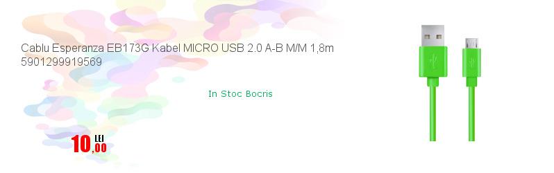 Cablu Esperanza EB173G Kabel MICRO USB 2.0 A-B M/M 1,8m 5901299919569