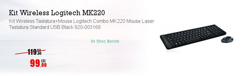 Kit Wireless Tastatura+Mouse Logitech Combo MK220 Mouse Laser Tastatura Standard USB Black 920-003168