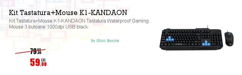 Kit Tastatura+Mouse K1-KANDAON Tastatura Waterproof Gaming Mouse 3 butoane 1000dpi USB black