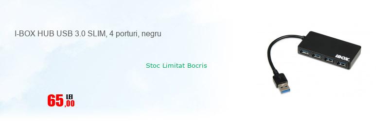 I-BOX HUB USB 3.0 SLIM, 4 porturi, negru