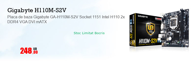 Placa de baza Gigabyte GA-H110M-S2V Socket 1151 Intel H110 2x DDR4 VGA DVI mATX