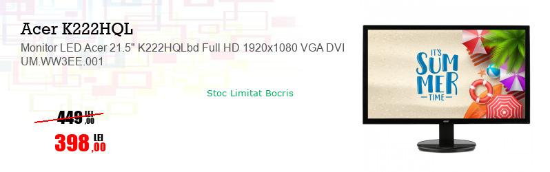 "Monitor LED Acer 21.5"" K222HQLbd Full HD 1920x1080 VGA DVI UM.WW3EE.001"