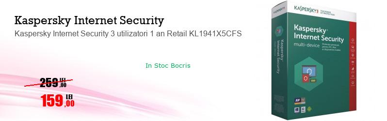 Kaspersky Internet Security 3 utilizatori 1 an Retail KL1941X5CFS
