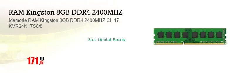 Memorie RAM Kingston 8GB DDR4 2400MHZ CL 17 KVR24N17S8/8
