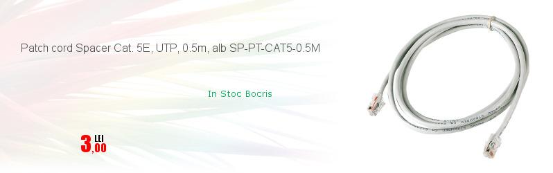 Patch cord Spacer Cat. 5E, UTP, 0.5m, alb SP-PT-CAT5-0.5M