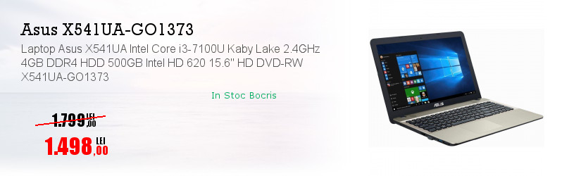 "Laptop Asus X541UA Intel Core i3-7100U Kaby Lake 2.4GHz 4GB DDR4 HDD 500GB Intel HD 620 15.6"" HD DVD-RW X541UA-GO1373"