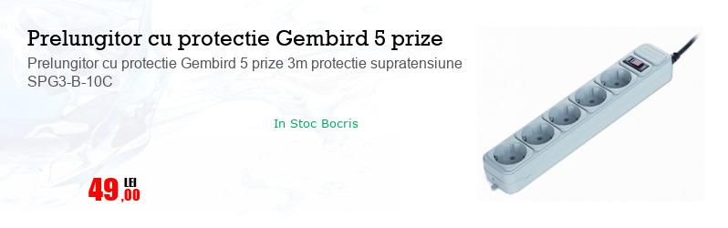 Prelungitor cu protectie Gembird 5 prize 3m protectie supratensiune SPG3-B-10C