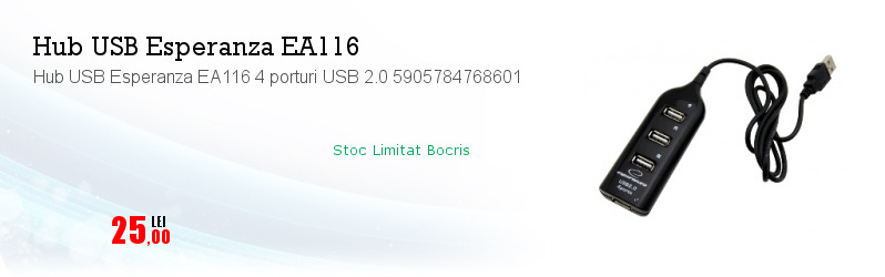 Hub USB Esperanza EA116 4 porturi USB 2.0 5905784768601
