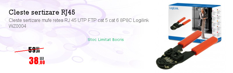 Cleste sertizare mufe retea RJ 45 UTP FTP cat 5 cat 6 8P8C Logilink WZ0004