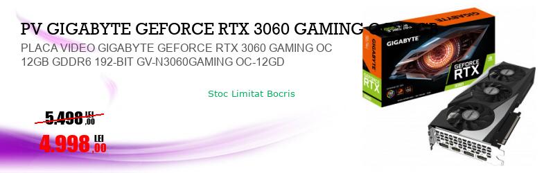 PLACA VIDEO GIGABYTE GEFORCE RTX 3060 GAMING OC 12GB GDDR6 192-BIT GV-N3060GAMING OC-12GD