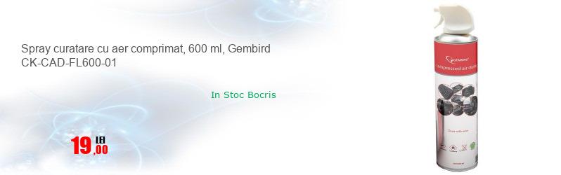 Spray curatare cu aer comprimat, 600 ml, Gembird CK-CAD-FL600-01