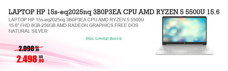 "LAPTOP HP 15s-eq2025nq 3B0P3EA CPU AMD RYZEN 5 5500U 15.6"" FHD 8GB 256GB AMD RADEON GRAPHICS FREE DOS NATURAL SILVER"