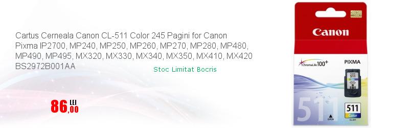 Cartus Cerneala Canon CL-511 Color 245 Pagini for Canon Pixma IP2700, MP240, MP250, MP260, MP270, MP280, MP480, MP490, MP495, MX320, MX330, MX340, MX350, MX410, MX420 BS2972B001AA