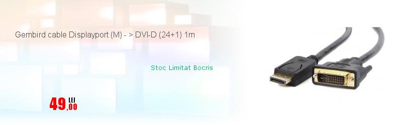 Gembird cable Displayport (M) - > DVI-D (24+1) 1m