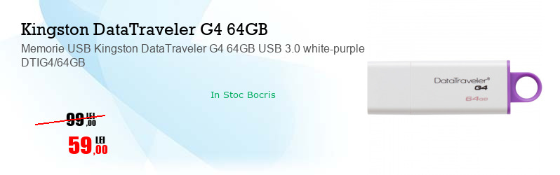 Memorie USB Kingston DataTraveler G4 64GB USB 3.0 white-purple DTIG4/64GB