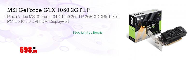Placa Video MSI GeForce GTX 1050 2GT LP 2GB GDDR5 128bit PCI-E x16 3.0 DVI HDMI DisplayPort