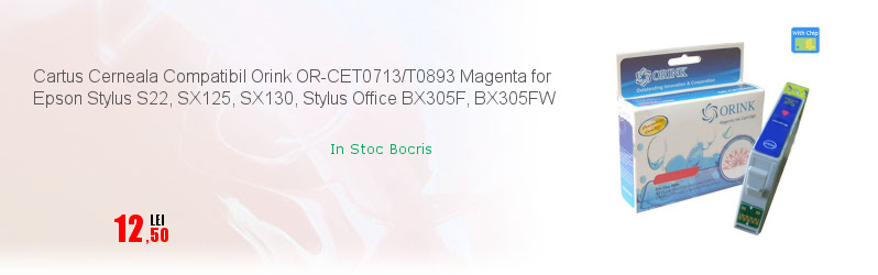 Cartus Cerneala Compatibil Orink OR-CET0713/T0893 Magenta for Epson Stylus S22, SX125, SX130, Stylus Office BX305F, BX305FW