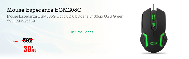 Mouse Esperanza EGM205G Optic 6D 6 butoane 2400dpi USB Green 5901299925539