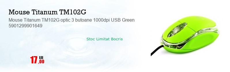 Mouse Titanum TM102G optic 3 butoane 1000dpi USB Green 5901299901649