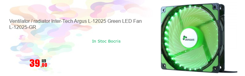 Ventilator / radiator Inter-Tech Argus L-12025 Green LED Fan L-12025-GR