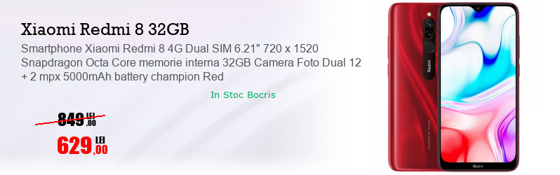 "Smartphone Xiaomi Redmi 8 4G Dual SIM 6.21"" 720 x 1520 Snapdragon Octa Core memorie interna 32GB Camera Foto Dual 12 + 2 mpx 5000mAh battery champion Red"