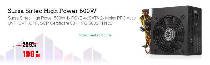 Sursa Sirtec High Power 500W 1x PCI-E 4x SATA 2x Molex PFC Activ UVP, OVP, OPP, SCP Certificare 80+ HPQ-500ST-H12S
