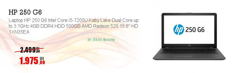"Laptop HP 250 G6 Intel Core i5-7200U Kaby Lake Dual Core up to 3.1GHz 4GB DDR4 HDD 500GB AMD Radeon 520 15.6"" HD 1XN35EA"