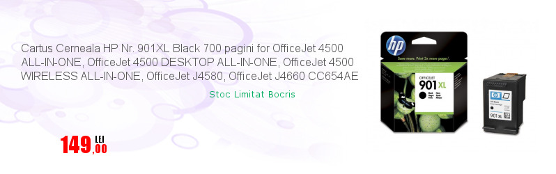 Cartus Cerneala HP Nr. 901XL Black 700 pagini for OfficeJet 4500 ALL-IN-ONE, OfficeJet 4500 DESKTOP ALL-IN-ONE, OfficeJet 4500 WIRELESS ALL-IN-ONE, OfficeJet J4580, OfficeJet J4660 CC654AE